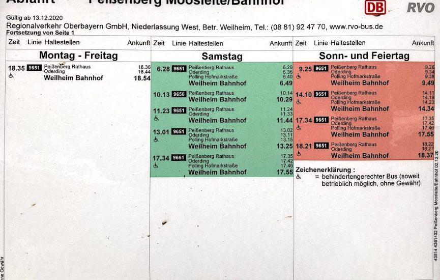 Pbg., Moosleite/Bahnhof, Richtung WM, Mo.-Fr. Teil 2, Sa./So.